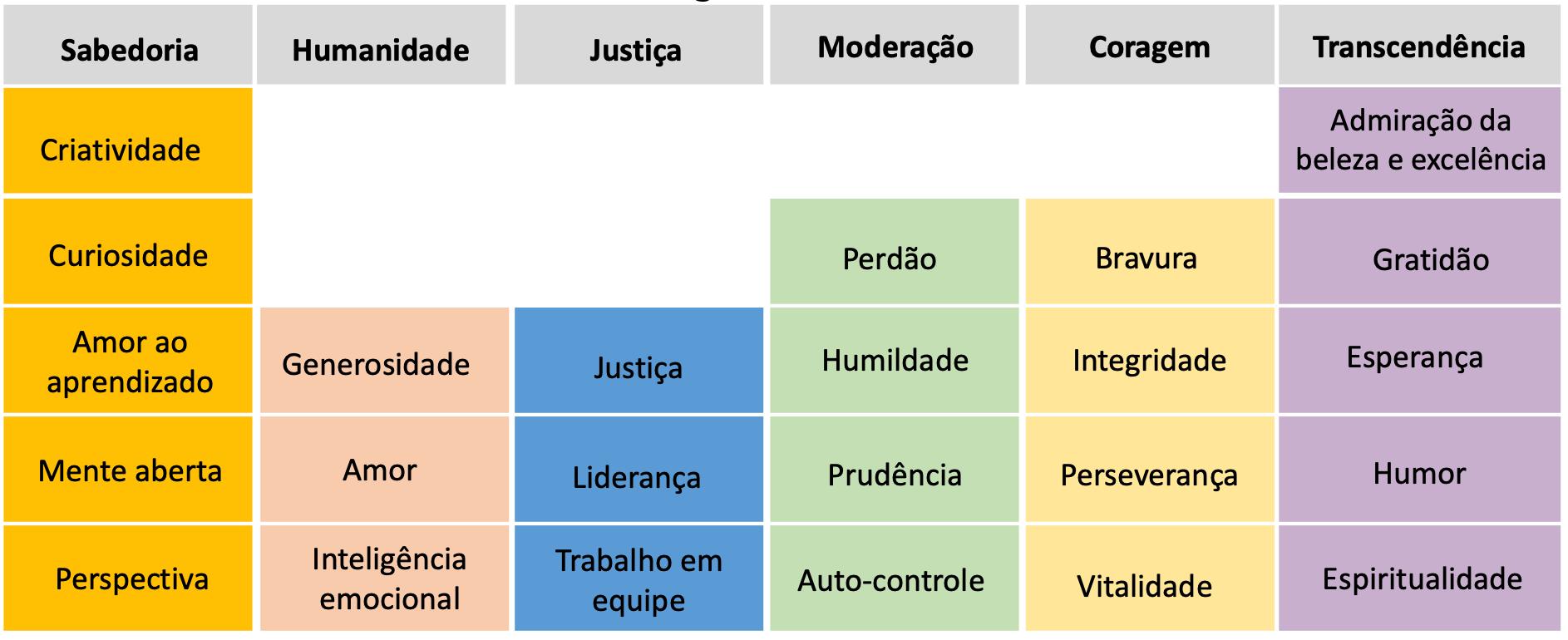 Virtudes e forças de caráter (crédito da imagem para o professor Gustavo Arns)